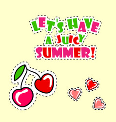 Retro summer poster with cherry vector
