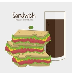 Sandwich soda drink lunch snack icon vector