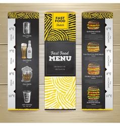 Set of vintage chalk drawing fast food menu banner vector