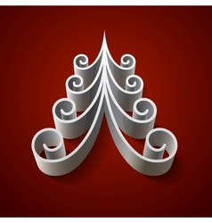 Silver 3d christmas tree on red background vector image vector image