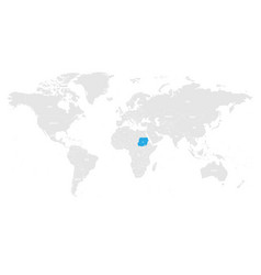 Sudan marked by blue in grey world political map vector