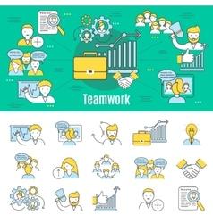 Teamwork Line Banner vector image