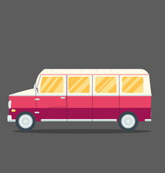 travel van flat square icon with long shadows vector image