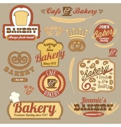 Vintage retro bakery logo badges vector image