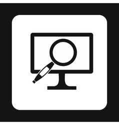 Finding information on computer icon simple style vector