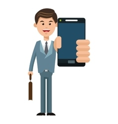 Mobile people cartoon design vector