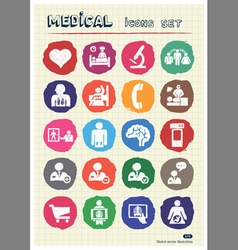 Medical web icons set drawn by chalk vector image
