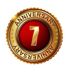 7 years anniversary golden label vector