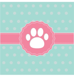 Pink ribbon and label with paw print card vector