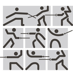 Fencing icons vector