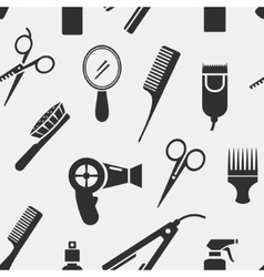 Silhouette hairdressing tools in seamless pattern vector