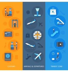 Airport banner set vector