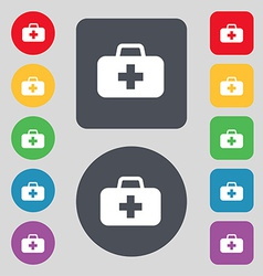 Medicine chest icon sign a set of 12 colored vector