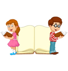 Cartoon kids reading book with giant book backgrou vector
