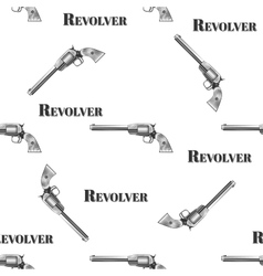 Seamless retro pattern revolver vector