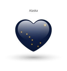 Love alaska state symbol heart flag icon vector