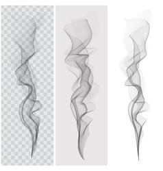 Set of realistic black smoke vector