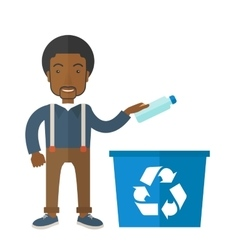 Man throwing plastic container into recycle can vector