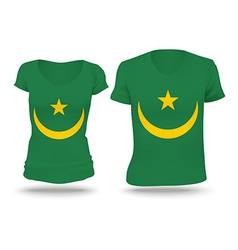 Flag shirt design of mauritania vector