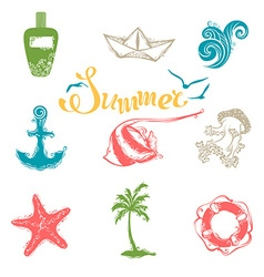 Set of bright summer and travel symbols vector