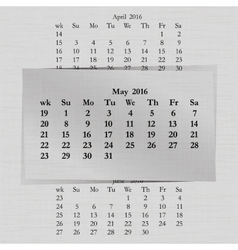 Calendar month for 2016 pages may vector