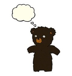 Cute cartoon black bear with thought bubble vector