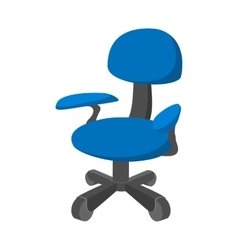 Blue office chair cartoon icon vector