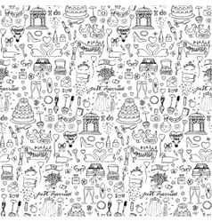 Seamless wedding hand drawn doodle pattern vector