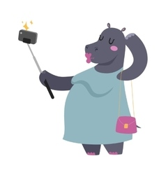 Selfie photo hippo fat woman portrait vector