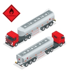 Fuel gas tanker truck isometric vector