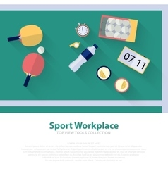 Pingpong green workspace flat icons ping pong vector