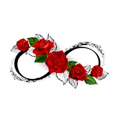 Infinity symbol with red roses vector