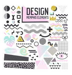 Abstract memphis style design elements set vector