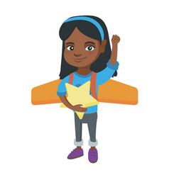 african girl with airplane wings behind her back vector image vector image