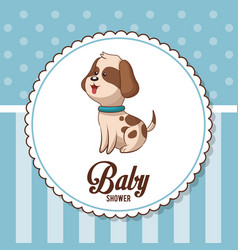 Baby shower card invitation cute dog vector
