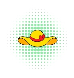 Beach hat icon comics style vector image vector image