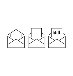 Bills Inside An Envelope Line Icon Style vector image vector image
