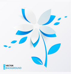Blue paper flower greeting card template vector image