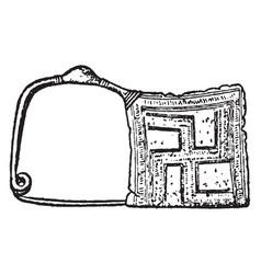 Brooch have a type of greek geometric fibula vector