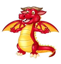 Cartoon cute red dragon isolated vector image