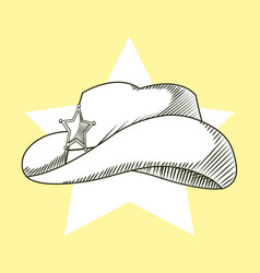 cowboy hat hand drawn vector image
