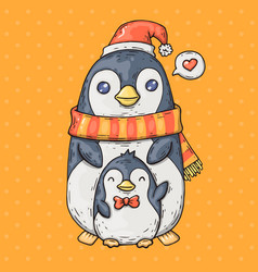 cute cartoon penguins cartoon in vector image vector image