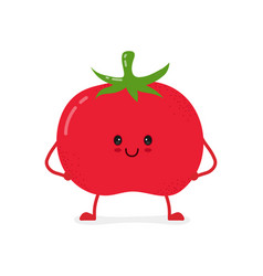 cute happy smiling raw frash tomato vegetable vector image vector image