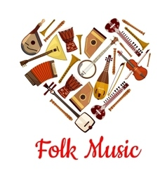 Folk music heart emblem of musical instruments vector image