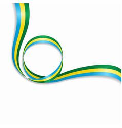 gabon wavy flag background vector image vector image