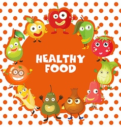 Healthy food theme with fruits and vegetables vector image vector image