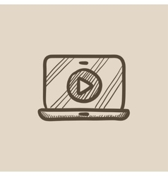 Laptop with play button on screen sketch icon vector image vector image