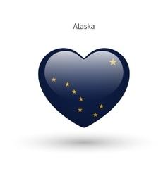 Love alaska state symbol heart flag icon vector
