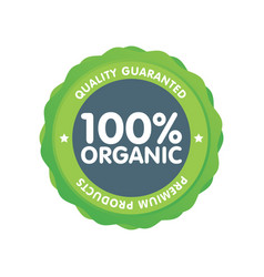 Modern green eco badge 100 percent organic label vector