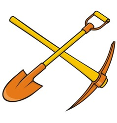 Pickaxe and shovel vector